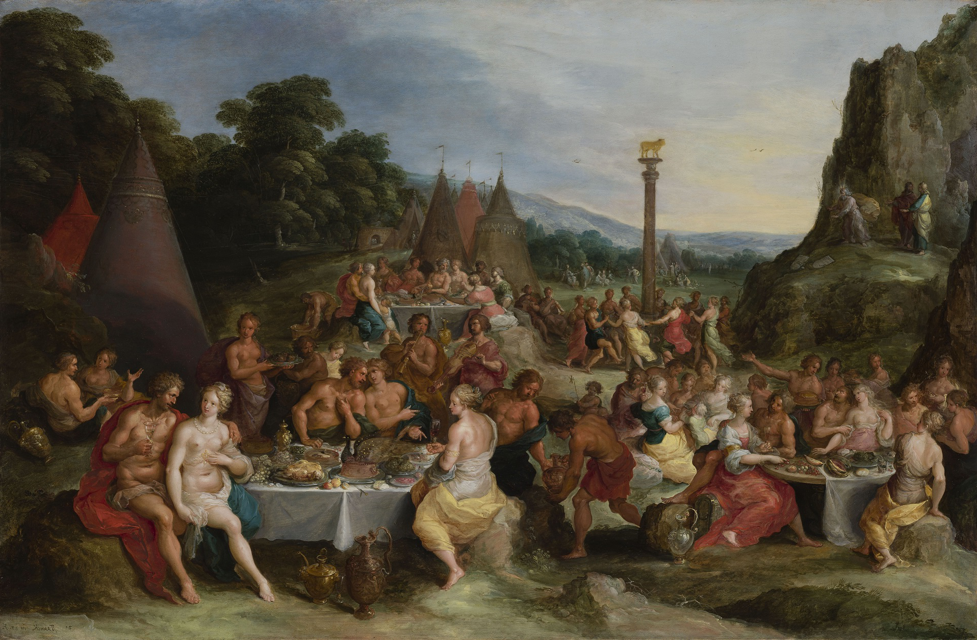 崇拜金牛犊 通过弗兰斯Francken雅戈尔 c.1630-35, oil on panel. The theme of abundance is central to this painting and others which inspired the exhibition's historical recreation of a Baroque feasting table.